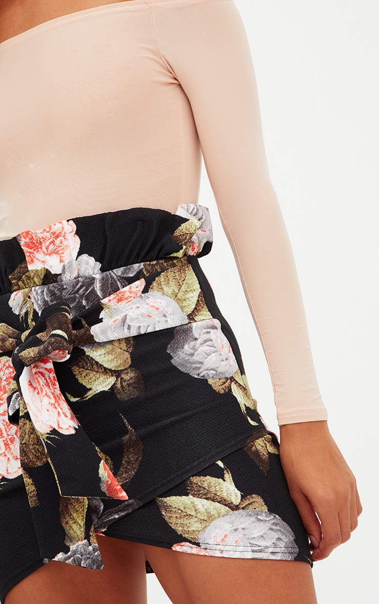 Petite Floral Paperbag Waist Wrap Mini Skirt 5