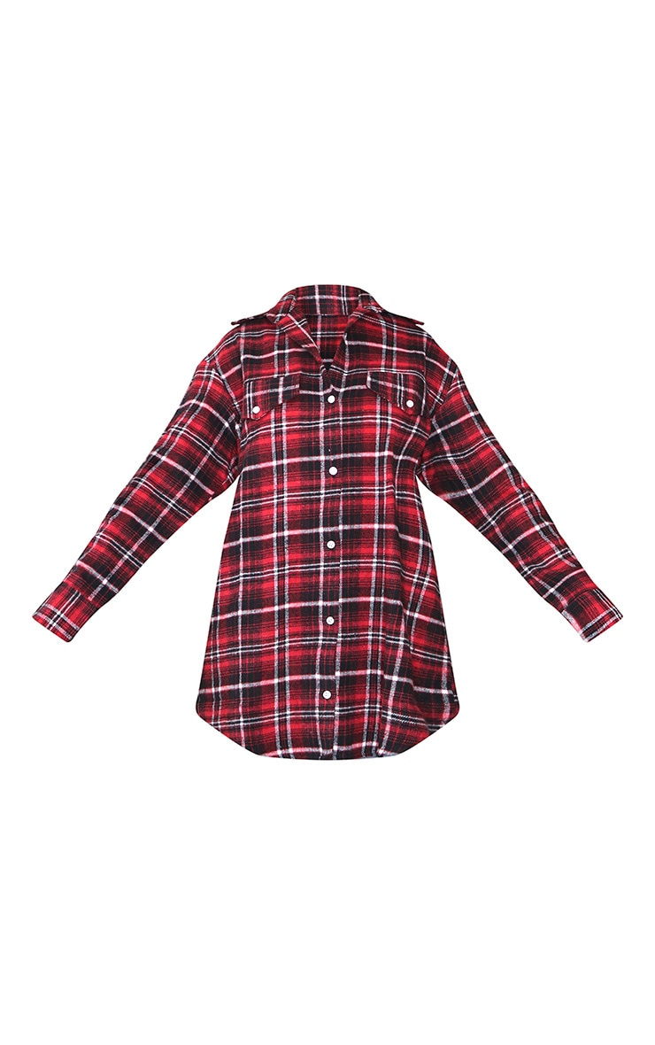 Red Oversized Check Boyfriend Shirt 5