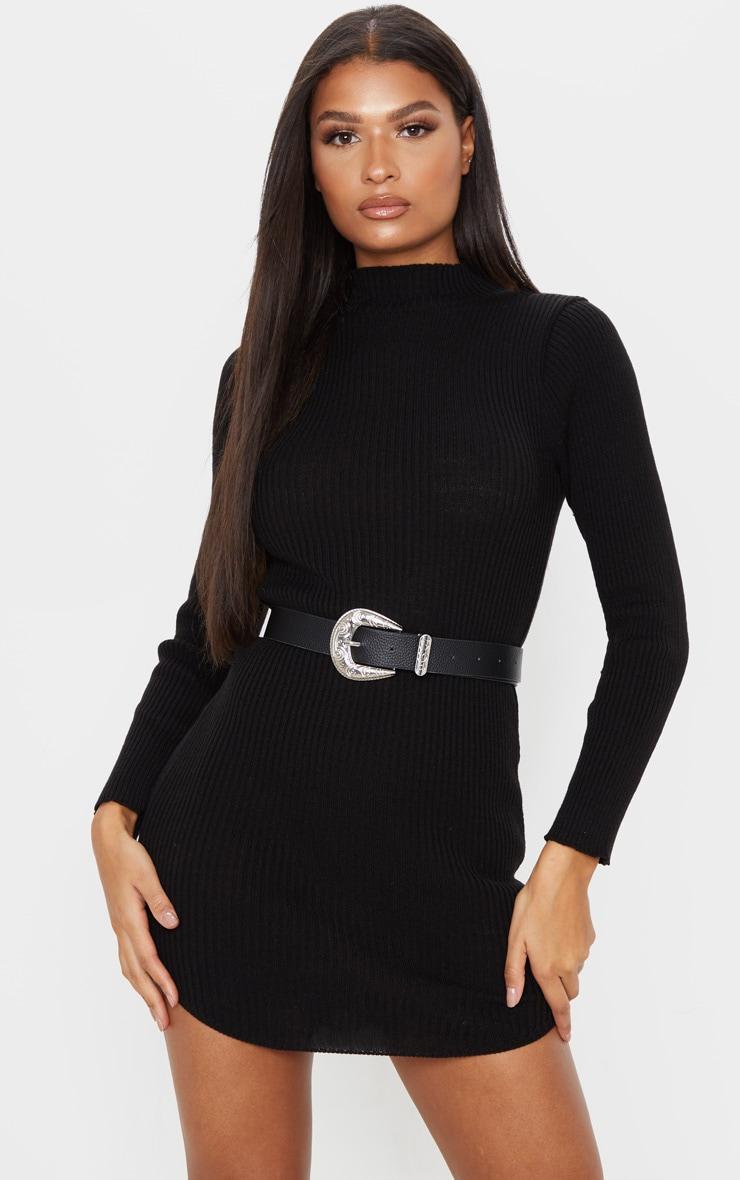 Black High Neck Curve Hem Sweater Dress 1