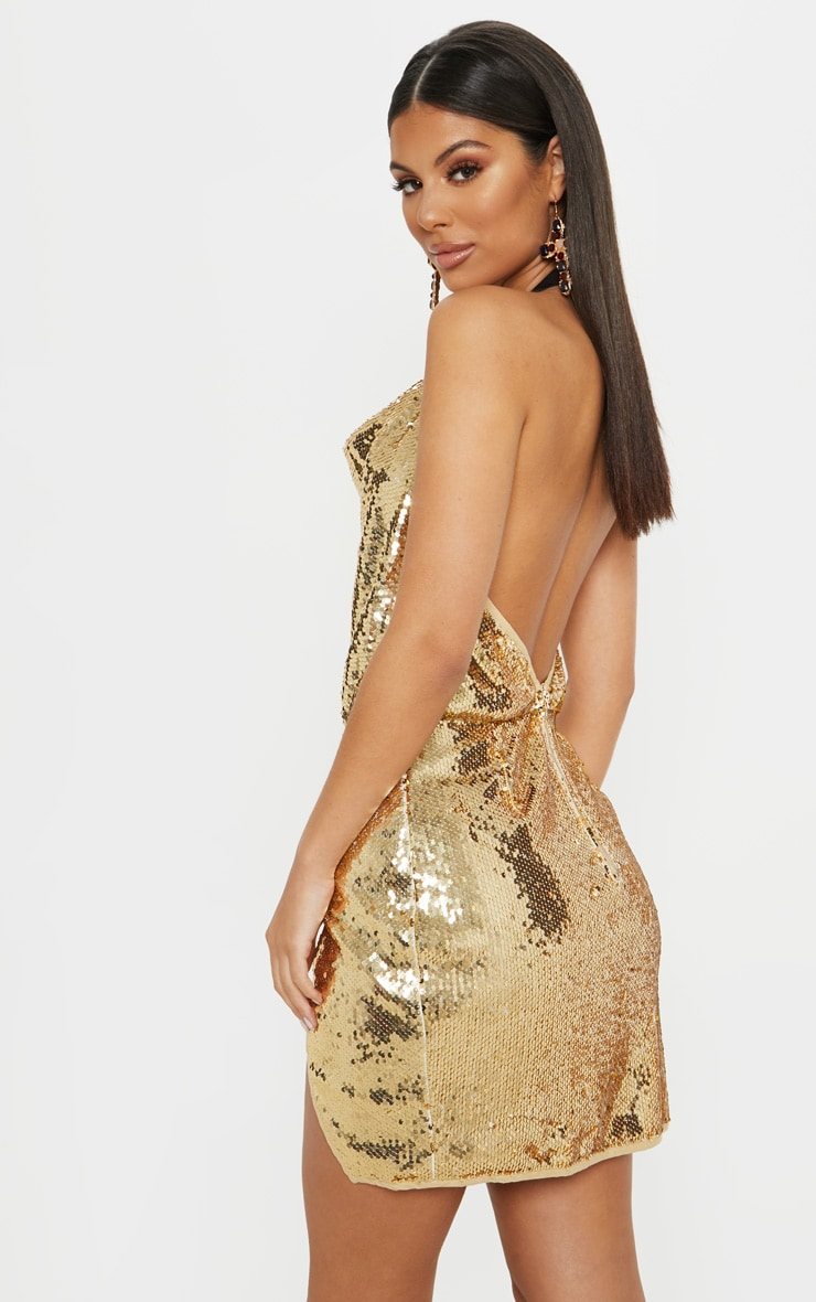 Gold Sequin Cowl Neck Bodycon Dress 2