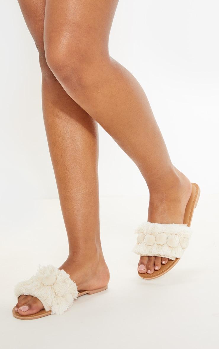 Nude Tassel Pom Pom Mule Sandal 2