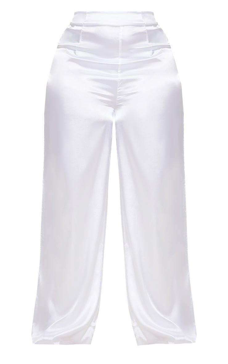 Plus White Satin Wide Leg Trousers 3
