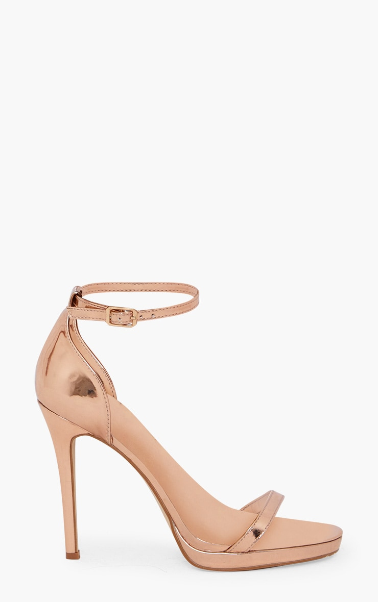 Rose Gold Single Strap Heeled Sandals 3