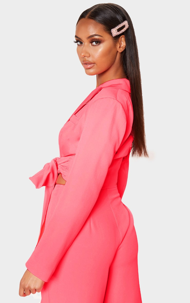 Coral Belted Cropped Woven Blazer    2
