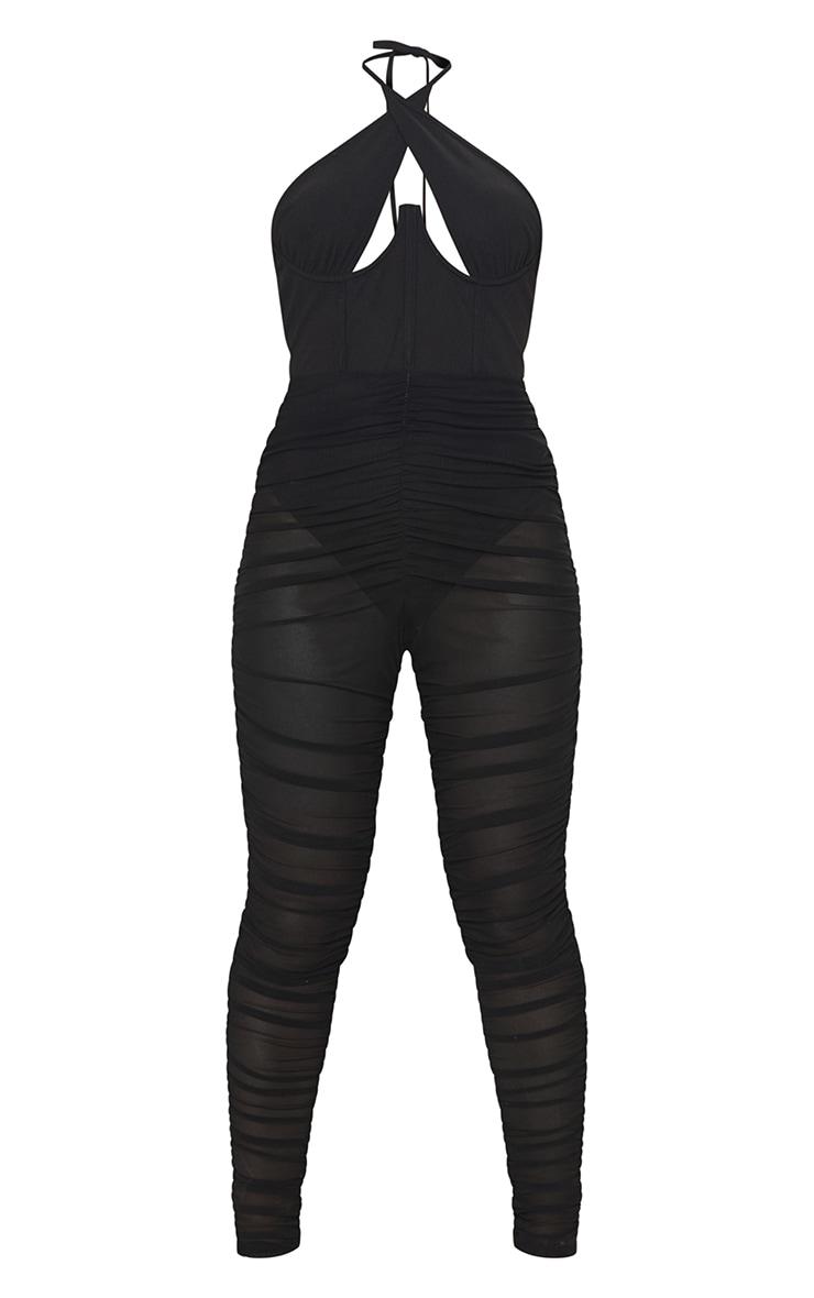 Black Cross Bust Corset Mesh Ruched Jumpsuit 5