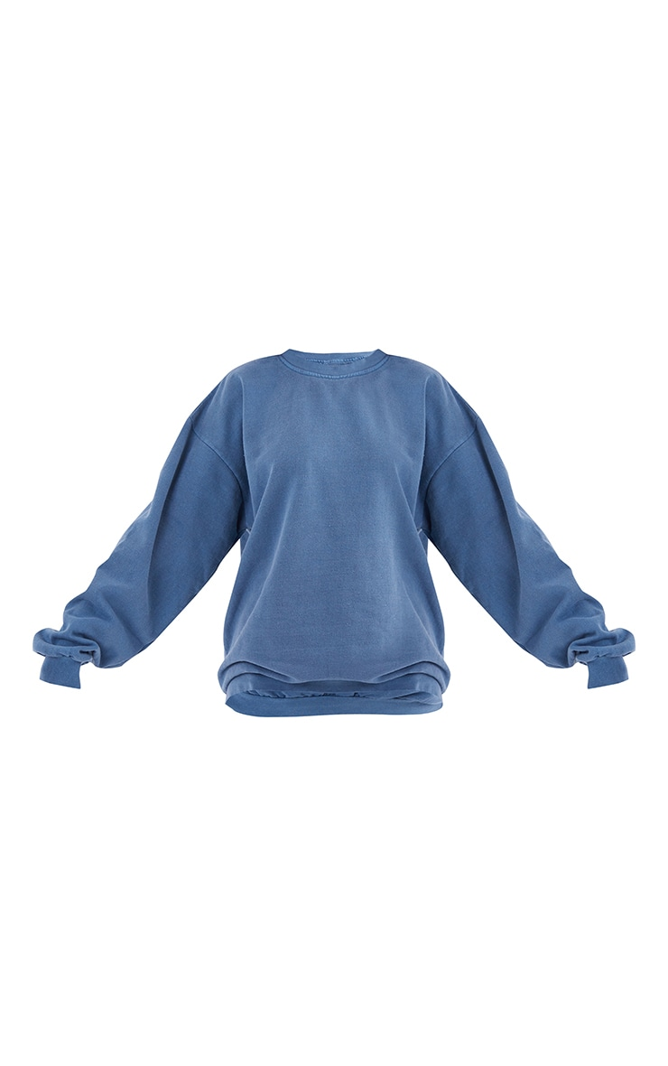Recycled Mineral Blue Washed Oversized Sweatshirt 5