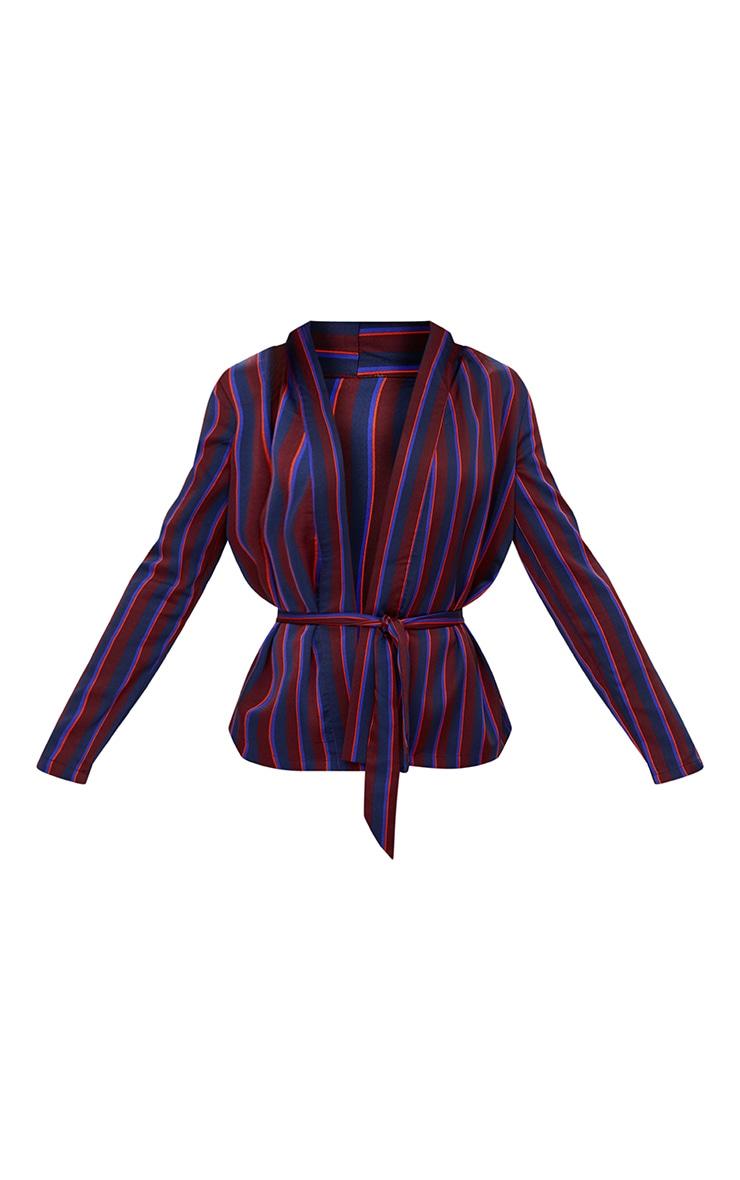 Burgundy Stripe Belted Blazer 3