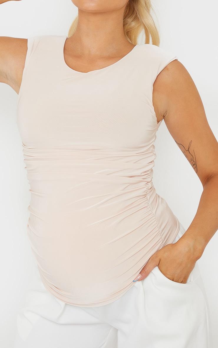 Maternity Stone Slinky Shoulder Pad T-Shirt 4