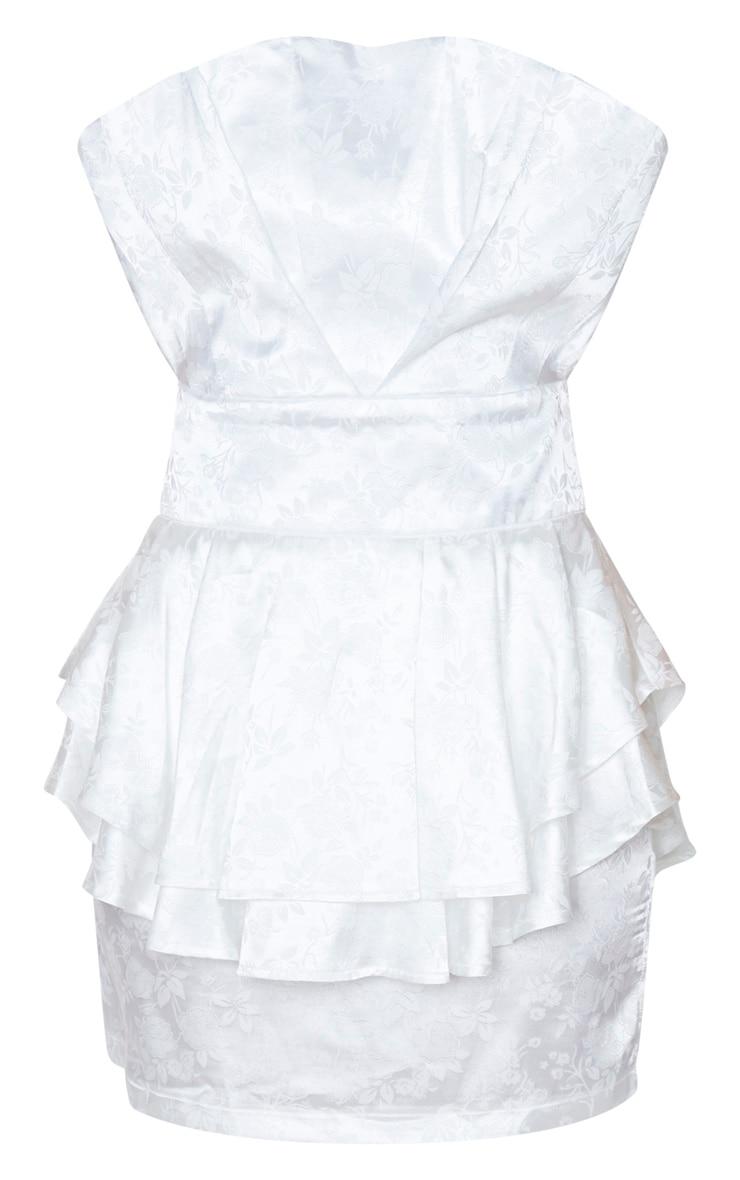 White Jacquard Bandeau Peplum Bodycon Dress 3