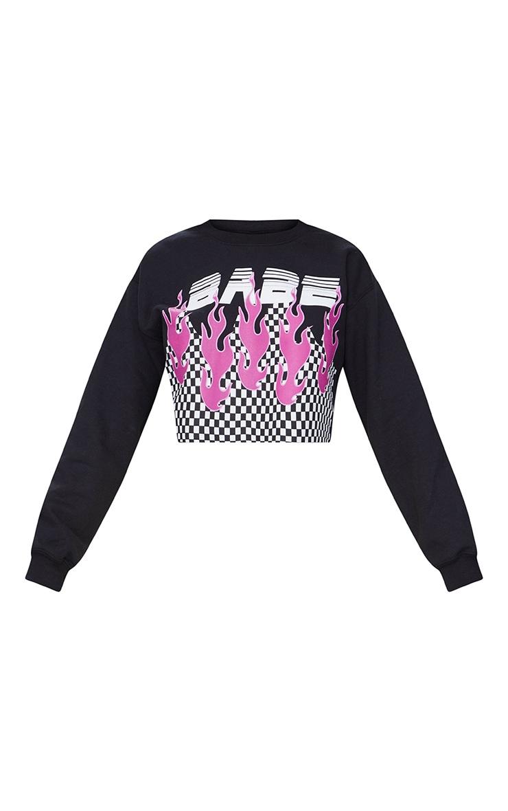 Babe Slogan Black Motorcross Cropped Sweater 3