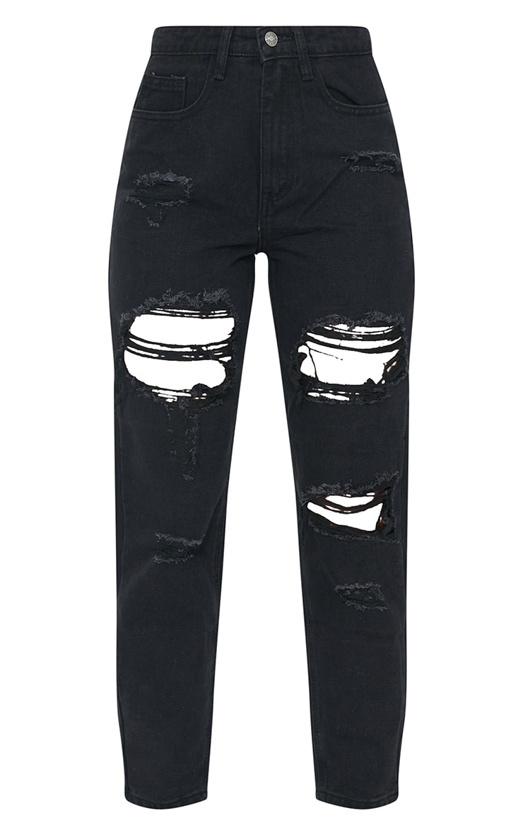 PRETTYLITTLETHING Washed Black Ripped Mom Jeans 5