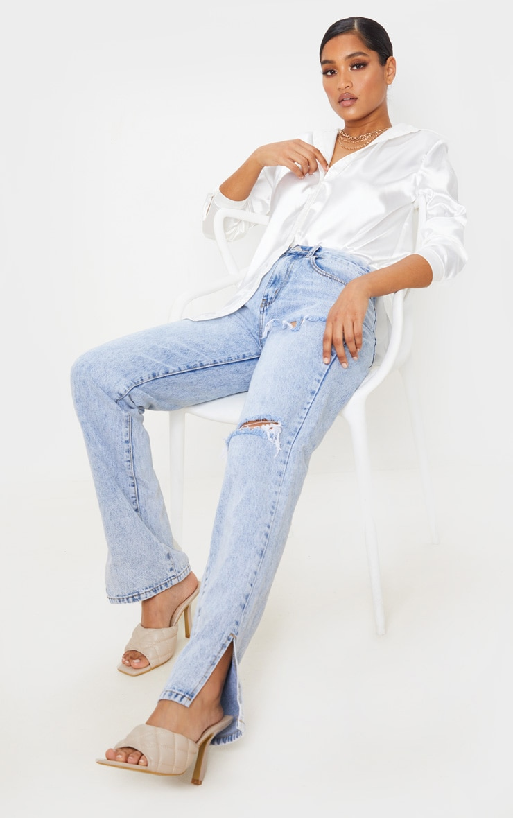 Ice Blue Distressed Split Hem Jeans 1