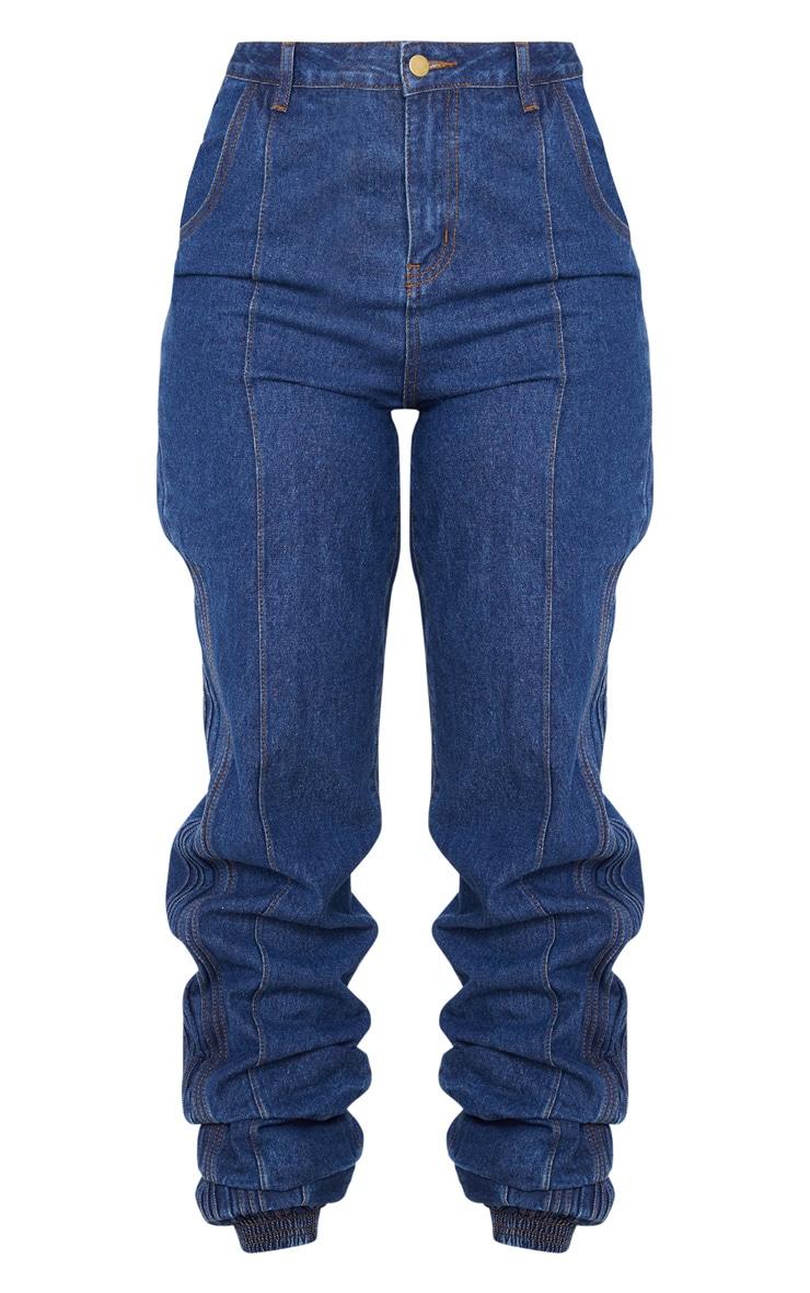 Mid Wash Denim Elasticated Hem Jeans 4