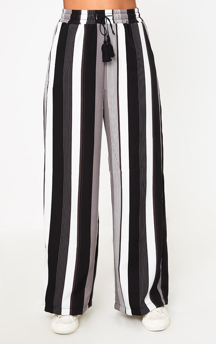 Black Stripe Wide Leg Trousers  2