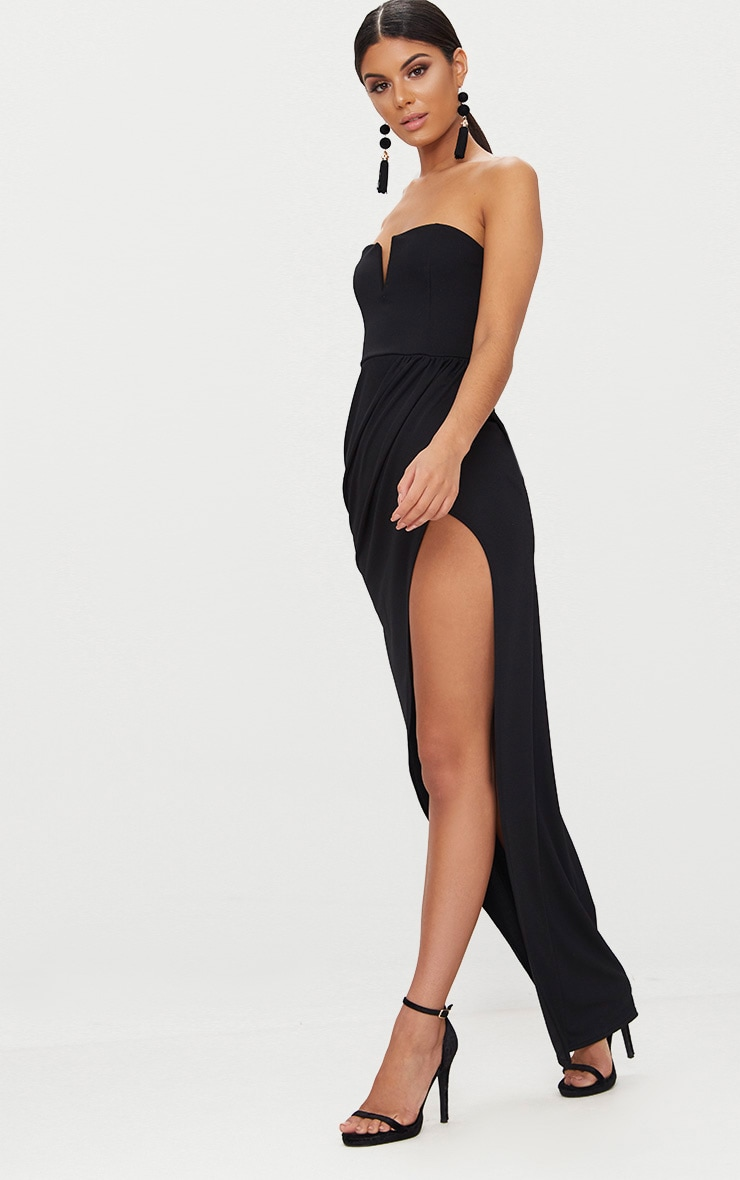 Black Bandeau V Bar Wrap Detail Maxi Dress 4