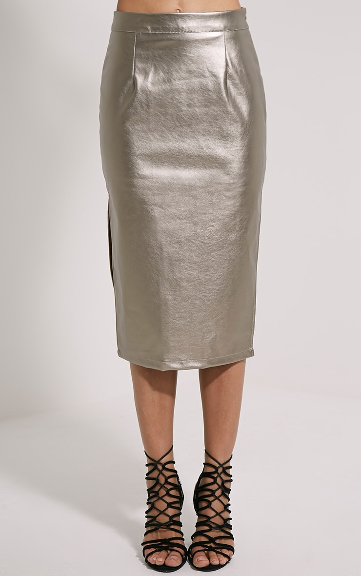 Tilda Silver Metallic Faux Leather Midi Skirt 2