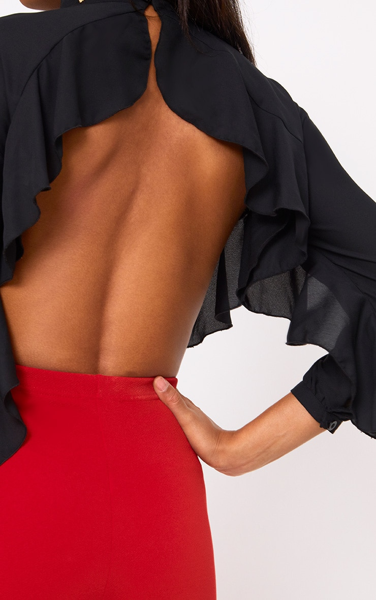 Black Frill Detail Open Back Blouse 5