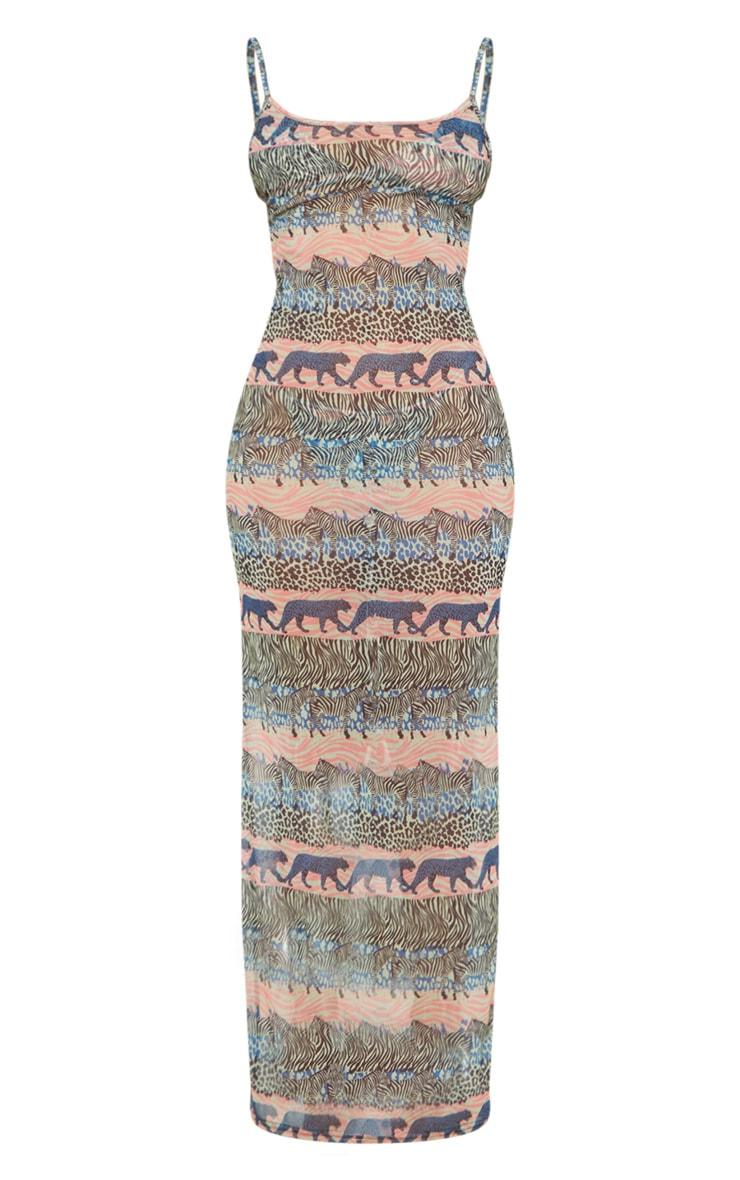 Blue Zebra Safari Mesh Maxi Beach Dress 3