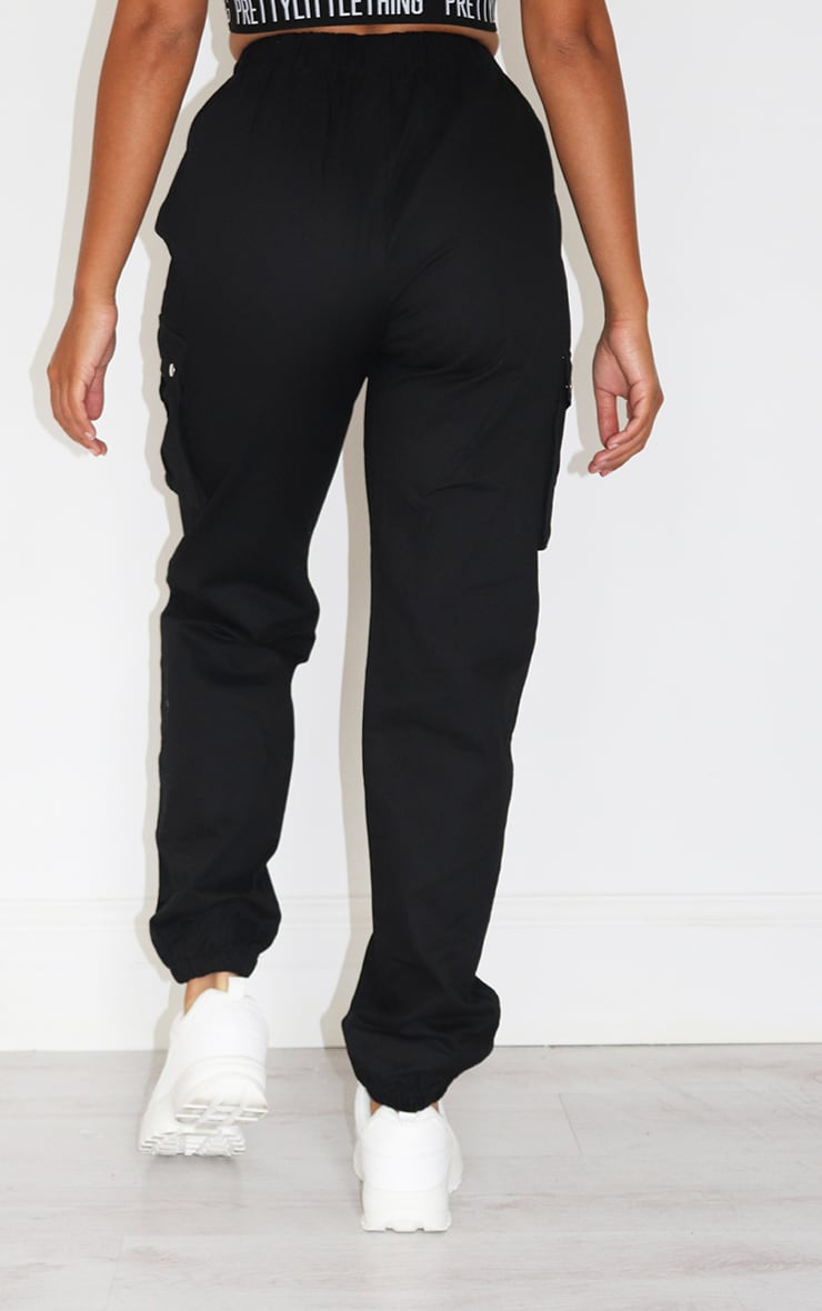 Petite Black Pocket Detail Cargo Pant 3