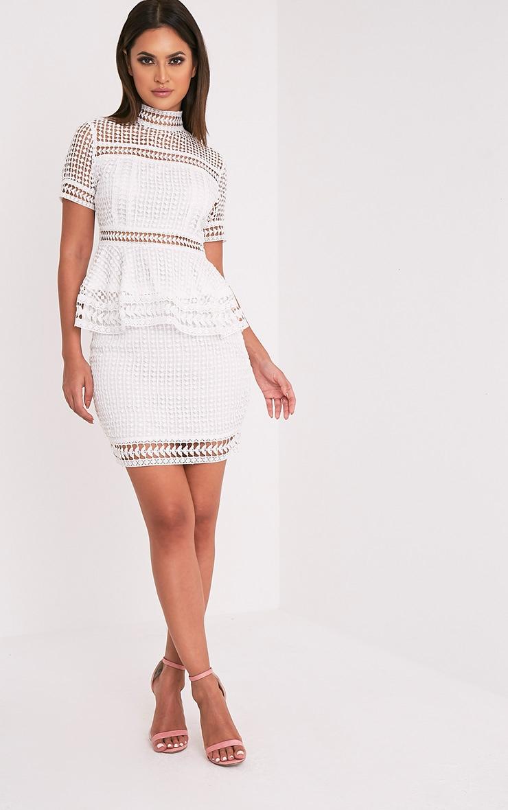 Eidiah White Lace Panel Mini Skirt 1