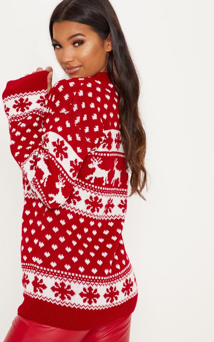 Red Fairisle Knitted Jumper 2