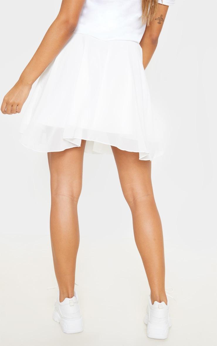 White Lightweight Woven Skater Skirt  4