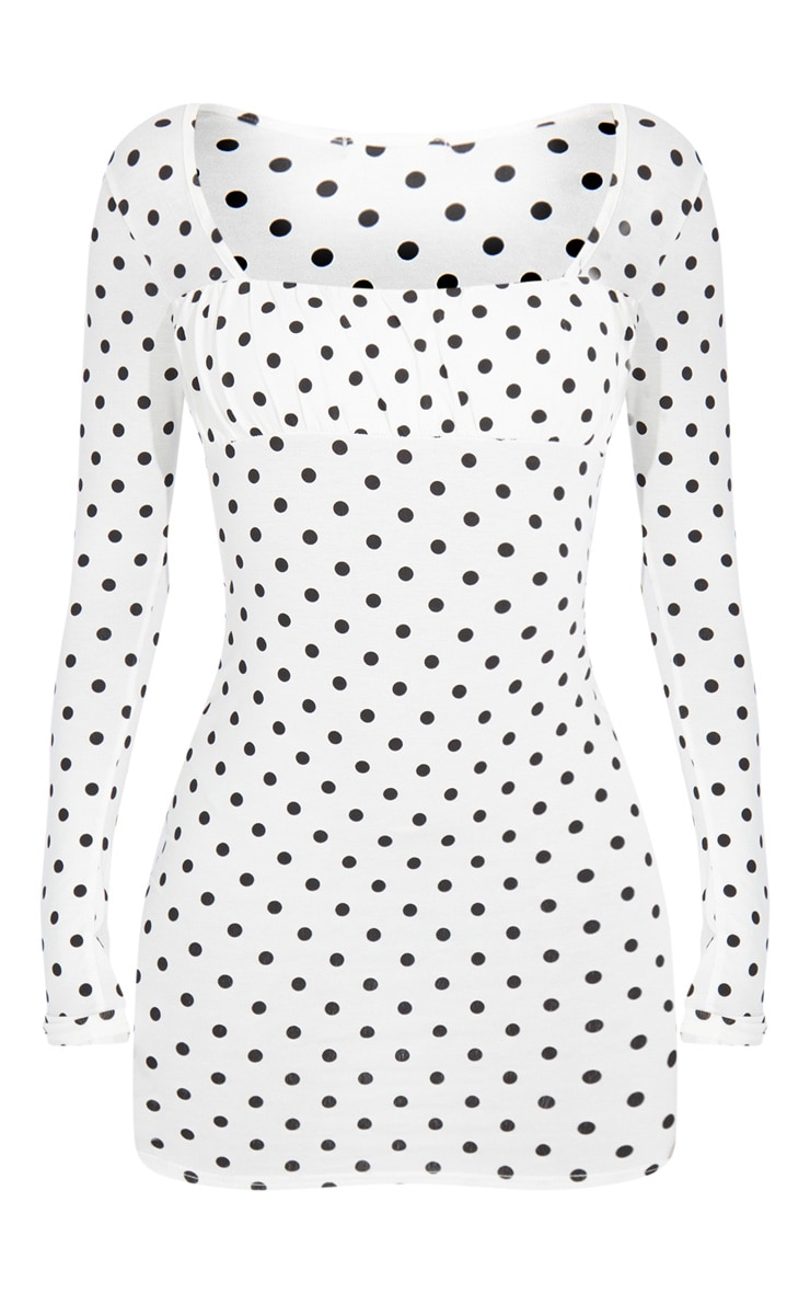 Tall White Polka Square Neck Ruched Bust Bodycon Dress 5