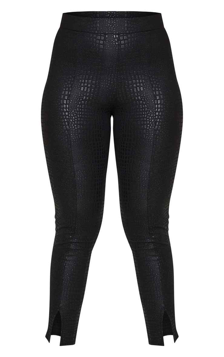 Black Croc Split Front Legging 3