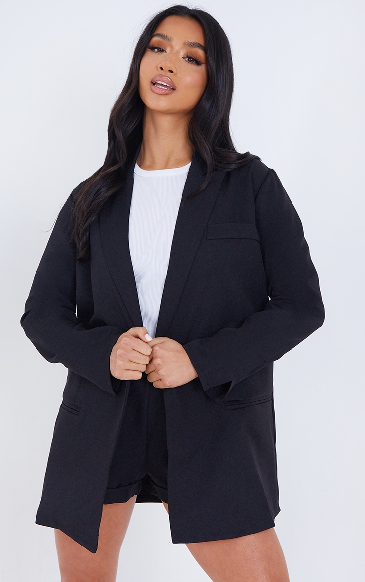 Petite Black Oversized Suit Blazer 1