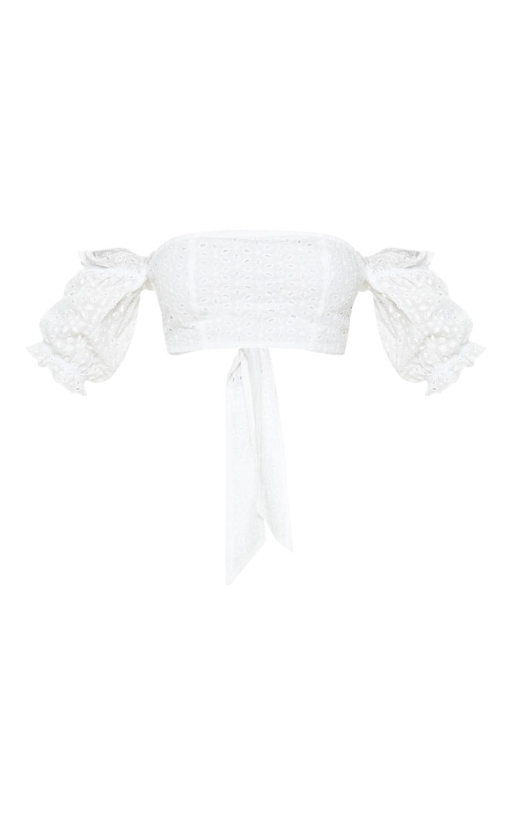 White Broderie Anglaise Bardot Tie Back Crop Top 3