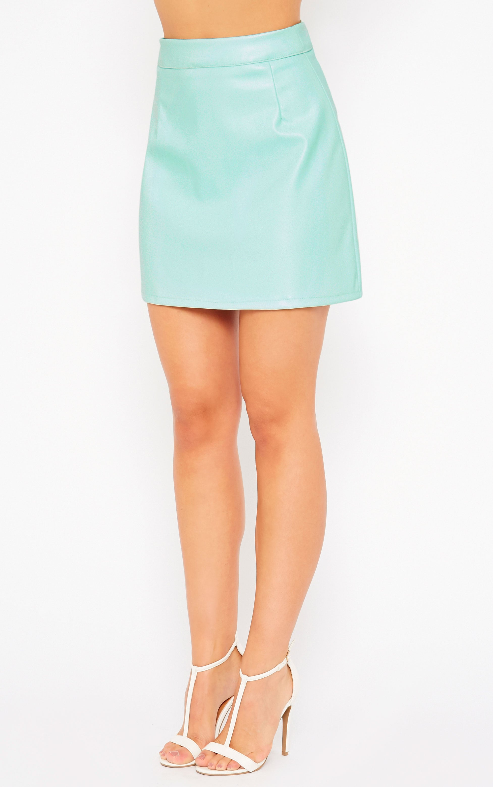 Rose Mint Faux Leather A-Line Mini Skirt 3