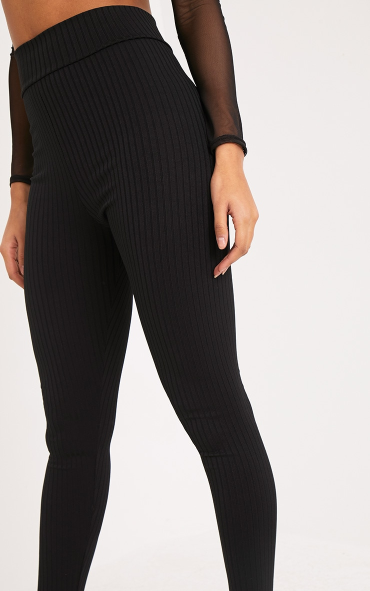 Harlie Black Ribbed High Waisted Leggings 5