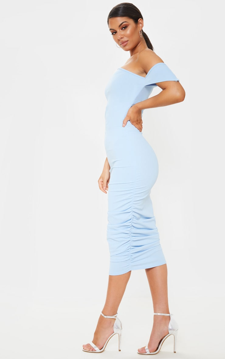 Dusty Blue One Shoulder Ruched Detail Bodycon Dress 4