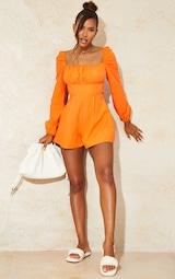 Bright Orange Tie Back Long Sleeve Romper 3