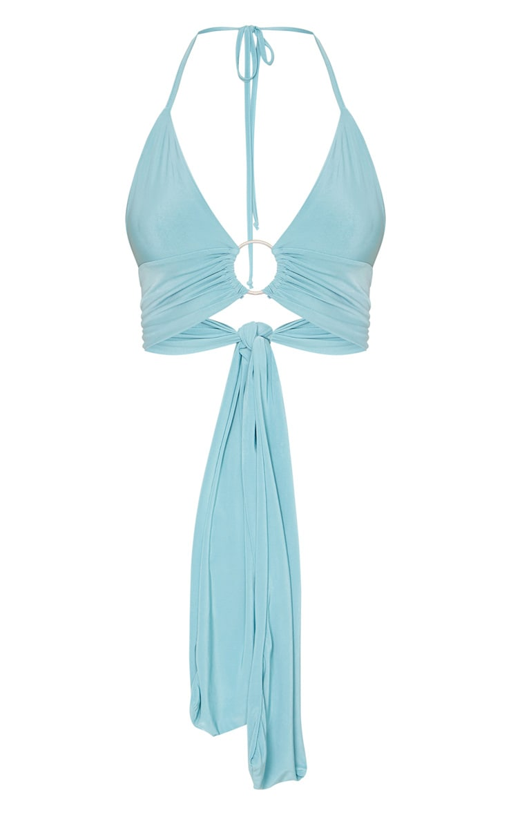 Dusty Turquoise Plunge Ring Detail Bralet 5