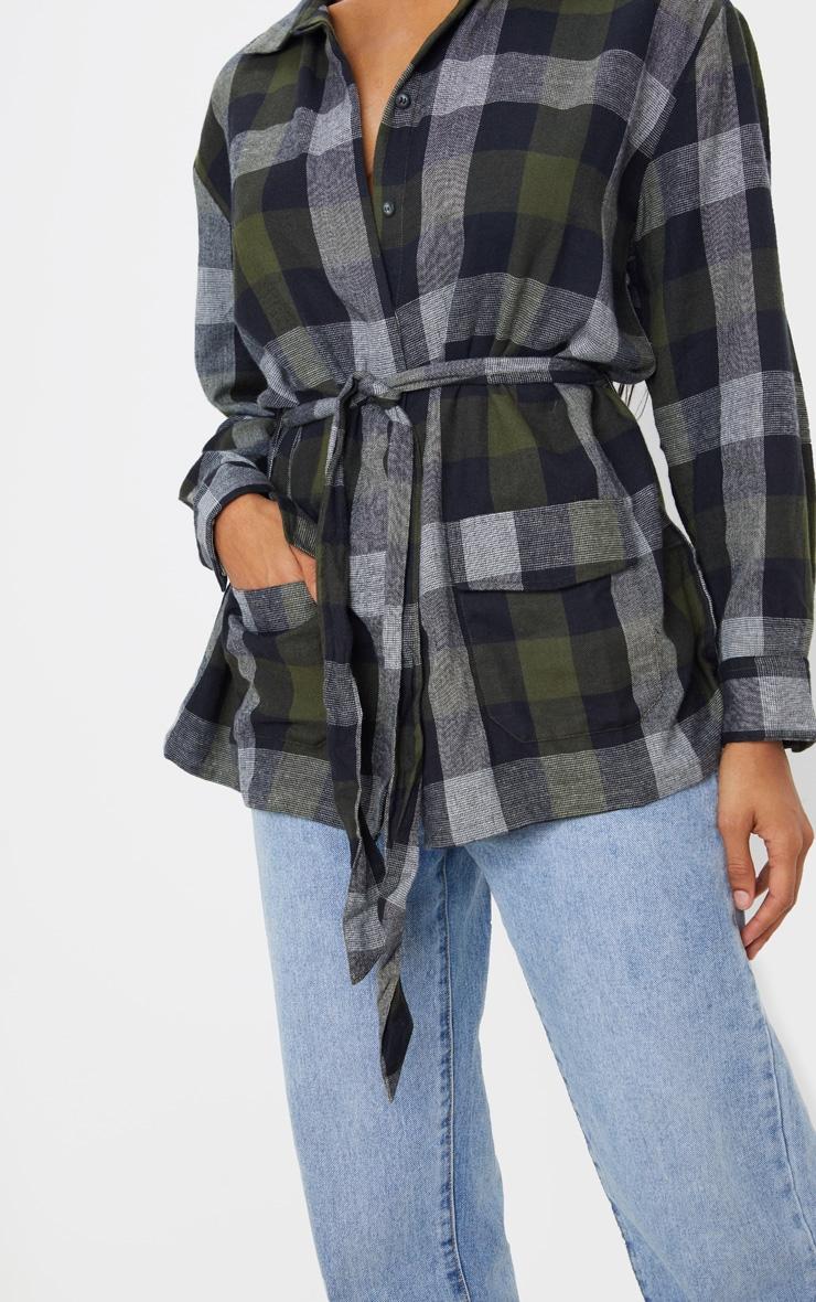 Khaki Check Belted Oversized Shirt 5