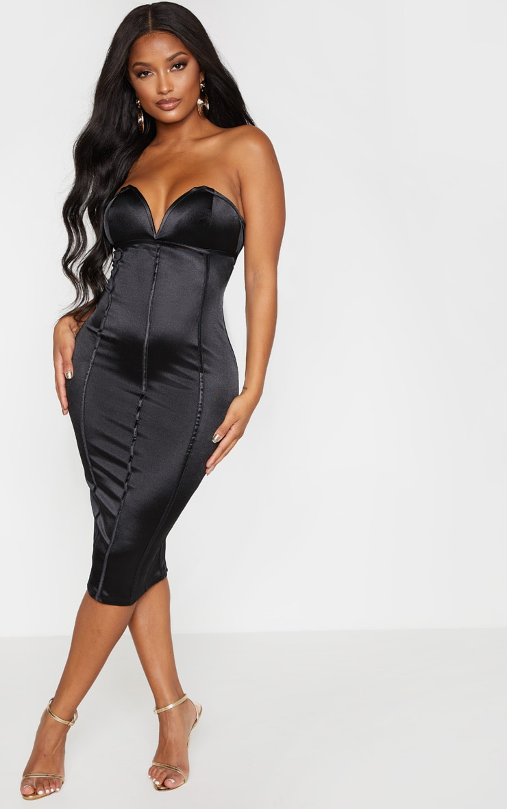 Shape Black Sweetheart Binding Detail Midi Dress 4