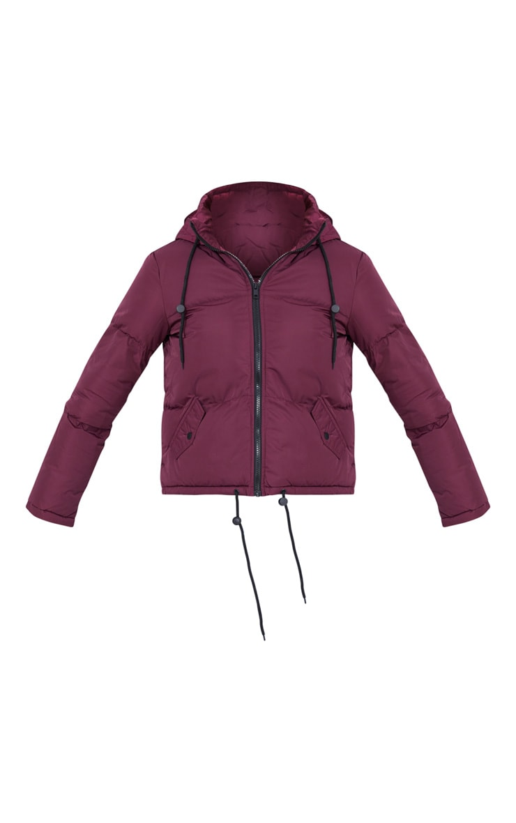 Burgundy Hooded Drawcord Hem Puffer Jacket 5