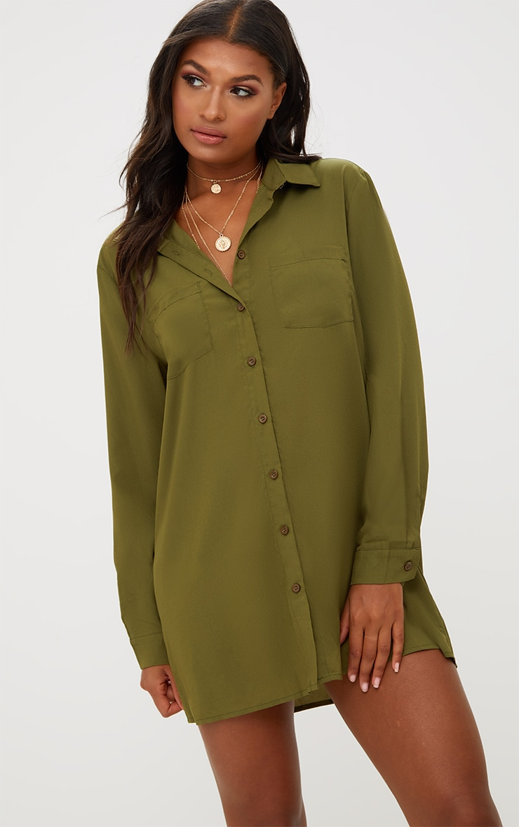 Effy Khaki Shirt Dress 1