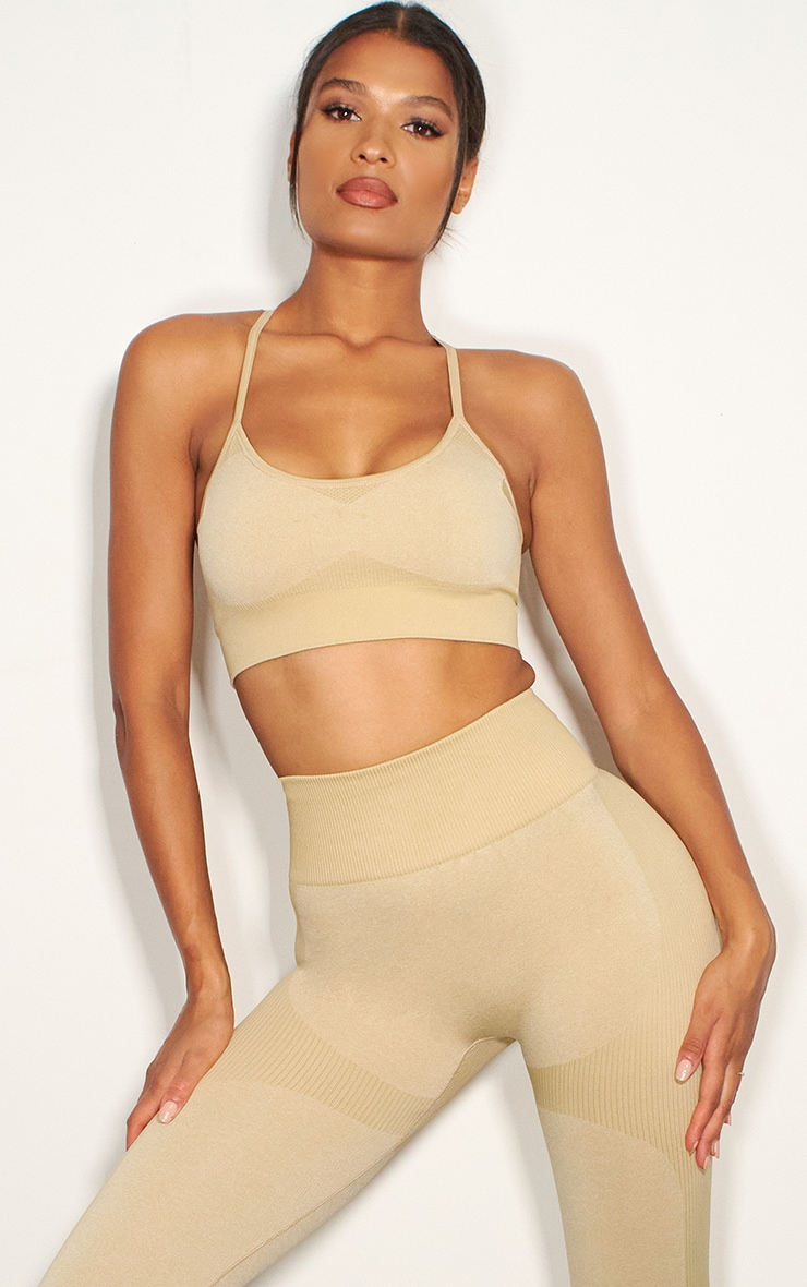 olive seamless longline sports bra top