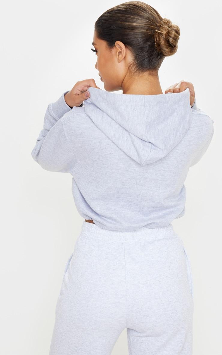 Hoodie court gris à lien ajustable 2