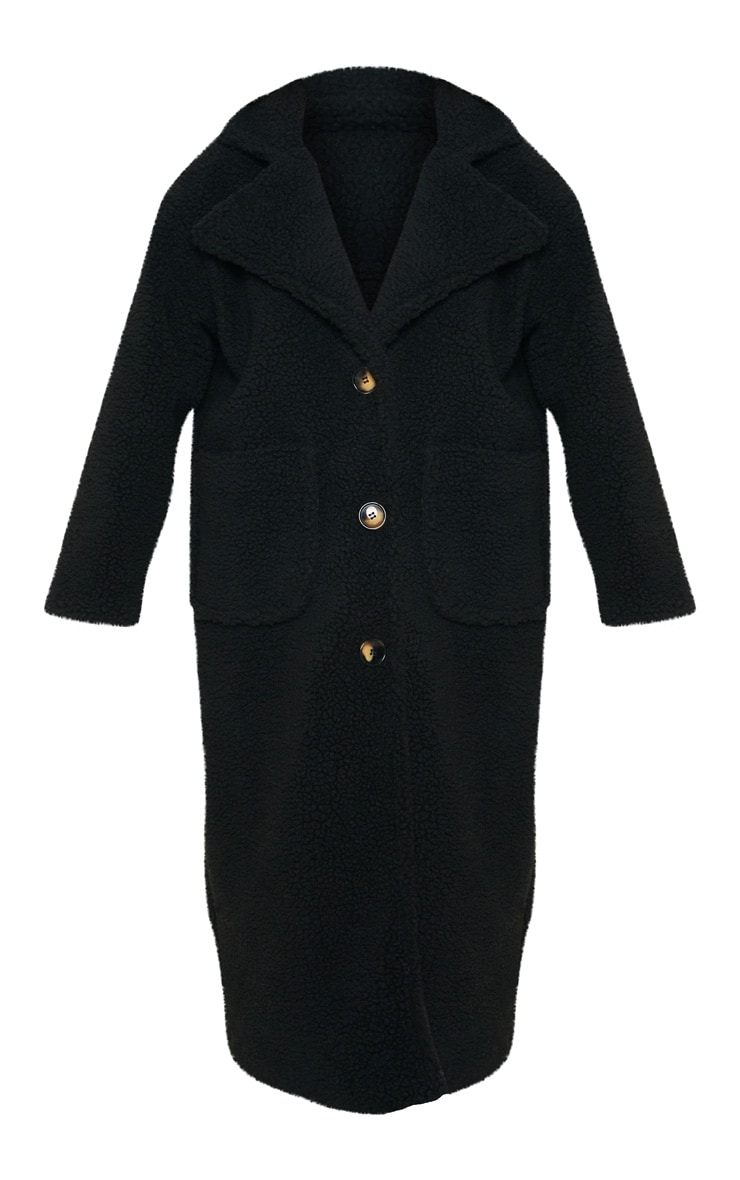 Manteau long noir en faux-mouton  3