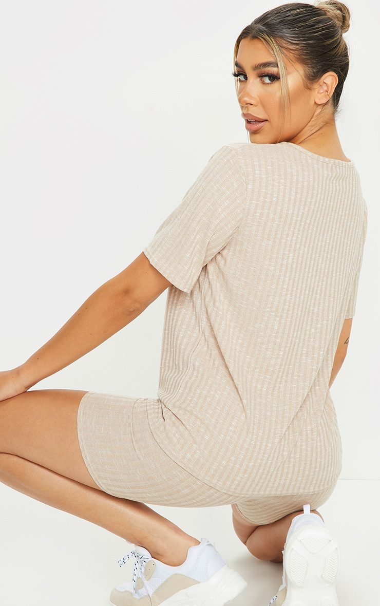 Oatmeal Oversized Knitted Tee And Short Set 2