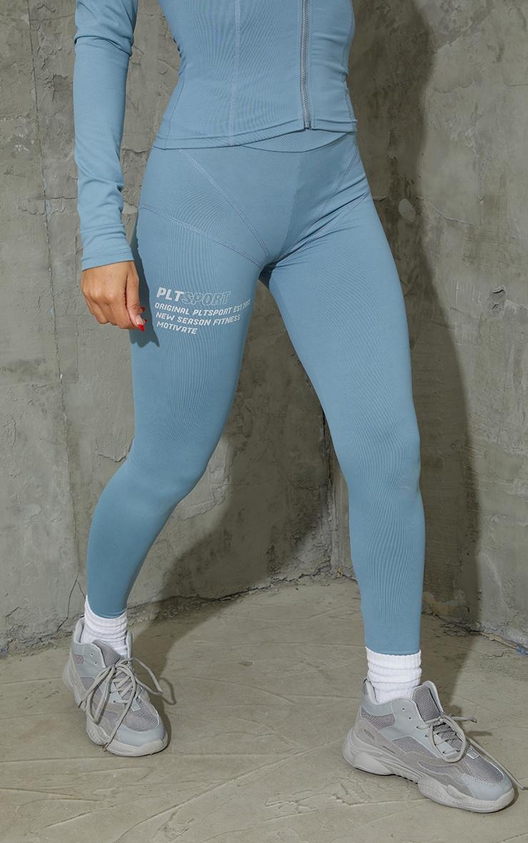 Steel Blue Stitch Detail Gym Leggings 2