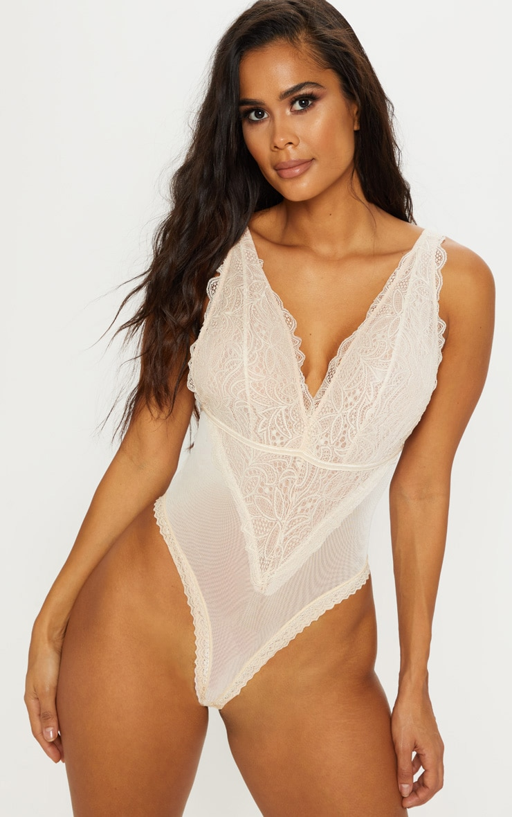 Cream Low Back Plunge Lace Trimmed Body