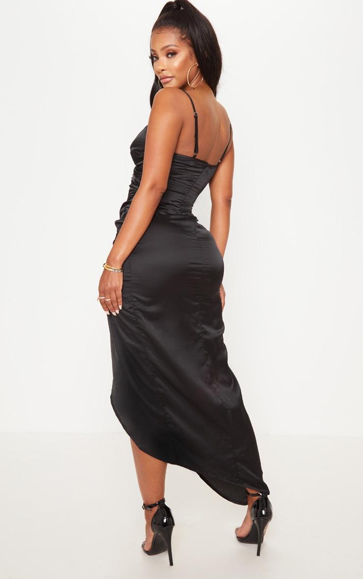 Shape Black Satin Wrap Detail Midaxi Dress 2