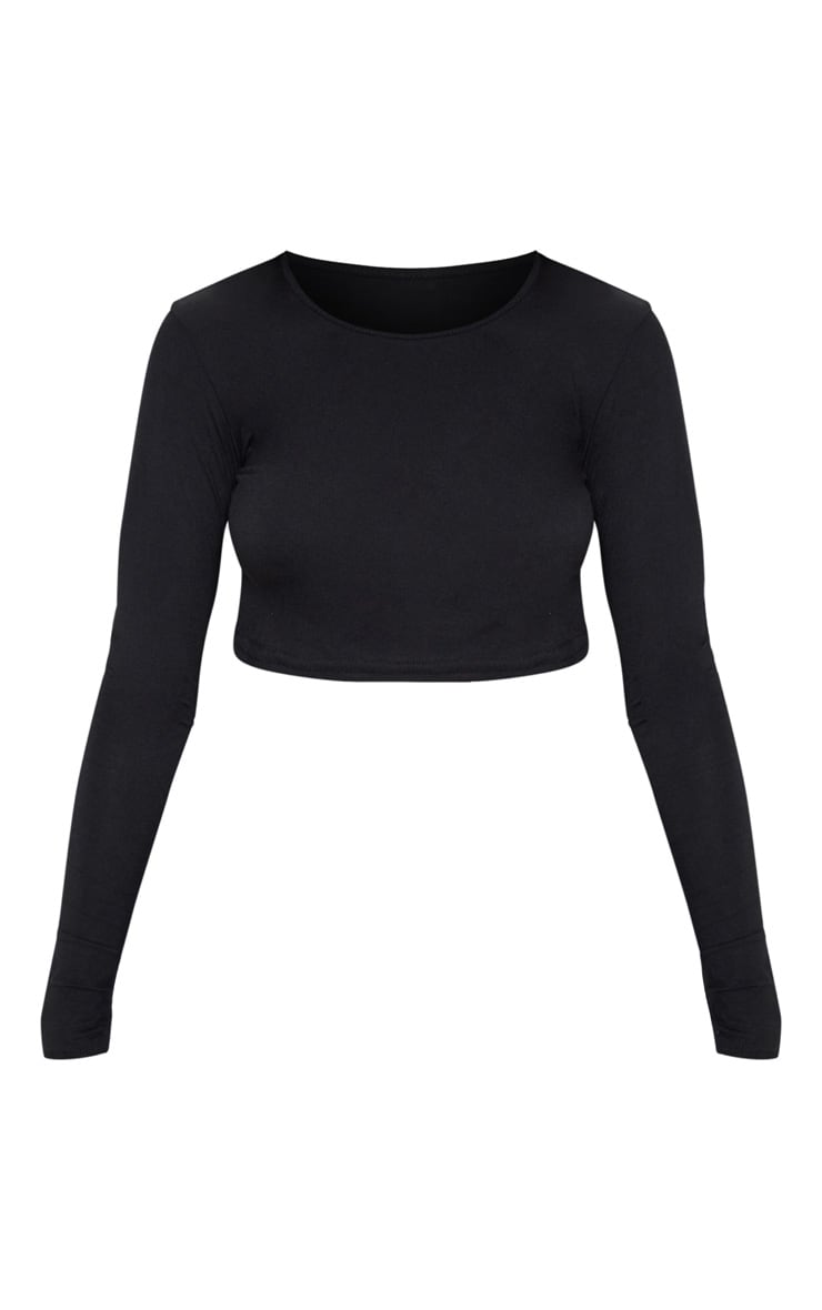 Basic Jersey Black Long Sleeve Crop Top 3