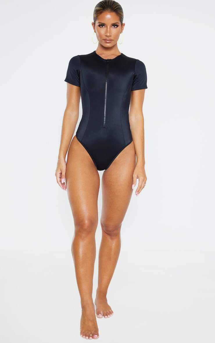 Black Recycled Fabric Zip Front Tshirt Swimsuit 4