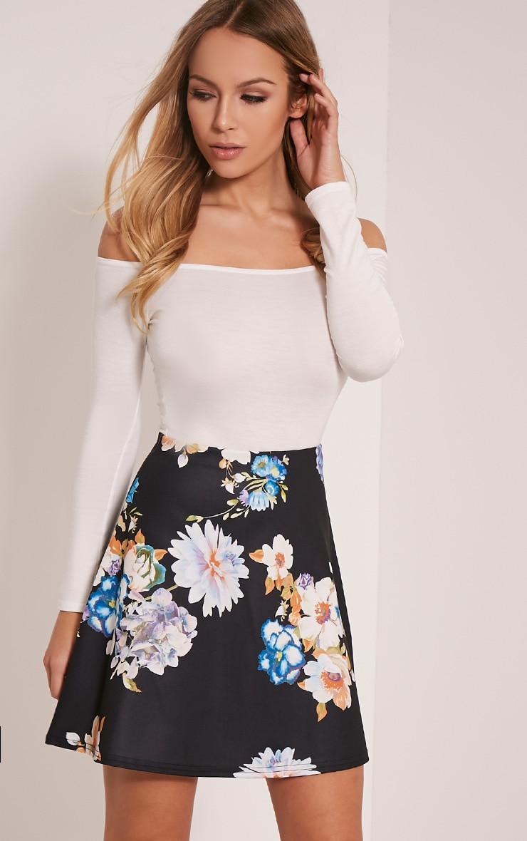 Deltie Black Floral A-Line Mini Skirt 1