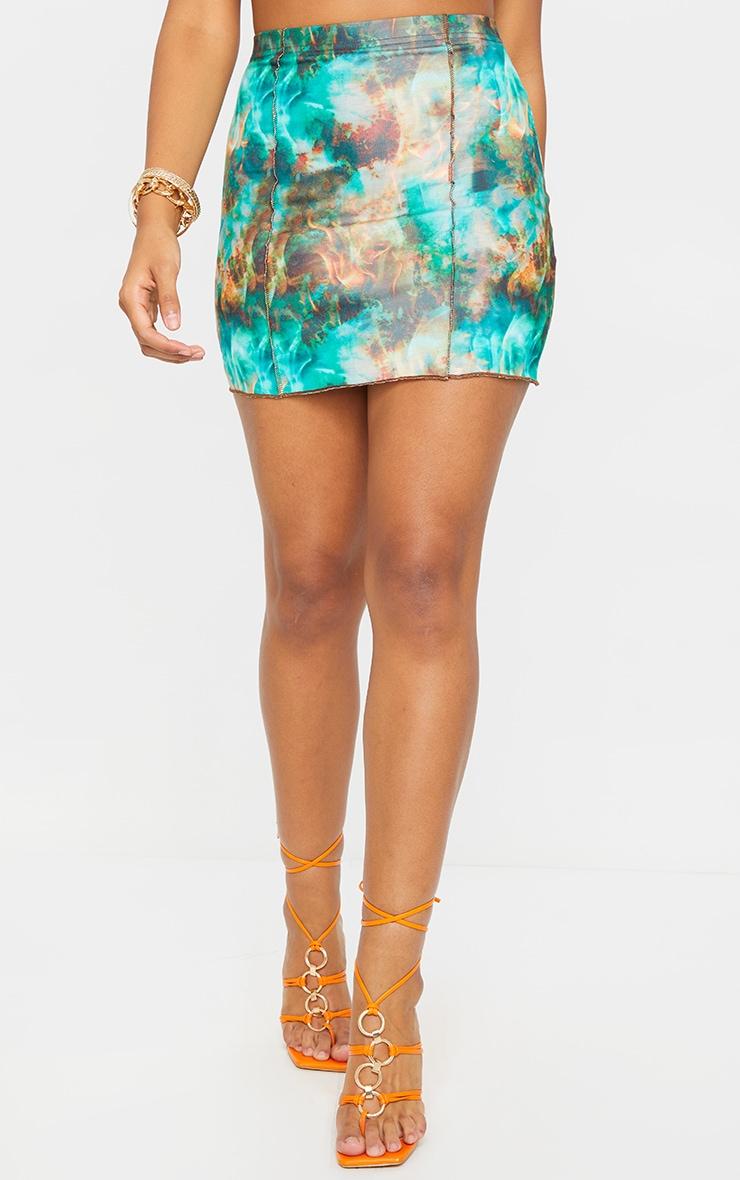Green Flame Contrast Seam Mini Skirt 2